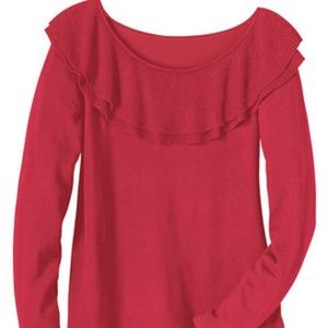 Anthony Richards Red Ruffle Neck Sweater 1X